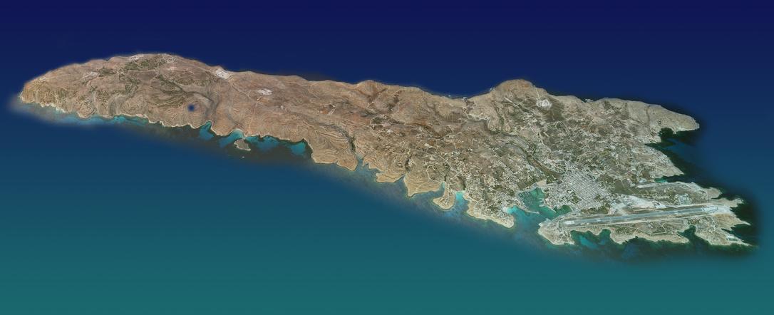 Luftaufnahme von Lampedusa